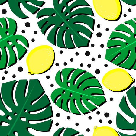 florida citrus: Seamless decorative background with yellow lemons and green palm leaves. Tropical leaves pattern with lemons and dots. Trendy Jungle illustration. Fashion design for textile, wallpaper, fabric etc.