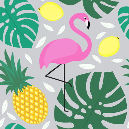 florida citrus: Tropical monstera leaves pattern with tropical fruits and exotic bird. Seamless background with flamingo, pineapple, lemons and green palm leaves. Fashion design for textile, wallpaper, fabric etc.