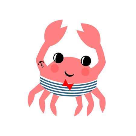 흰색 배경에 만화 재미 선원 크랩입니다. 해양 생물 문자 그림입니다. 스톡 콘텐츠 - 61614758
