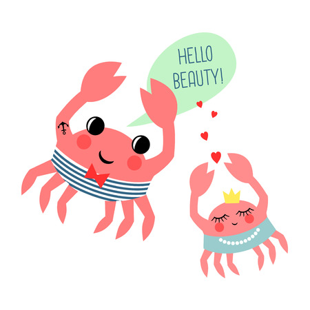 Estilo De Dibujos Animados De Moda Personaje De Cangrejo Rojo ...