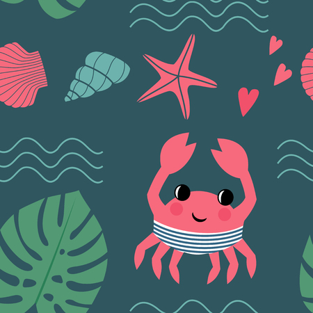 pincers: Cartoon crab with  shell, palm leaf, waves and starfish seamless pattern. Marine life character vector illustration. Design for textile, wallpaper, fabric, decor etc. Child drawing style background. Illustration