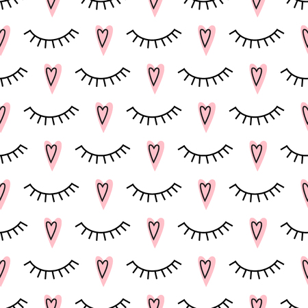 closed eyes: Abstract pattern with closed eyes and pink hearts. Cute eyelashes background illustration. Fashion design for textile, wallpaper, fabric etc.