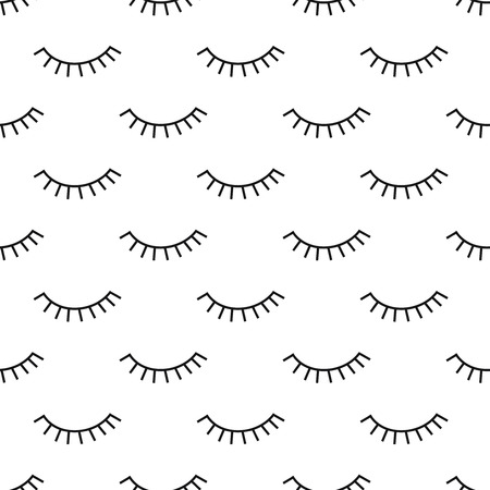 Abstract pattern with closed eyes. Cute eyelashes background illustration. Black and white fashion design for textile, wallpaper, fabric etc. Illusztráció