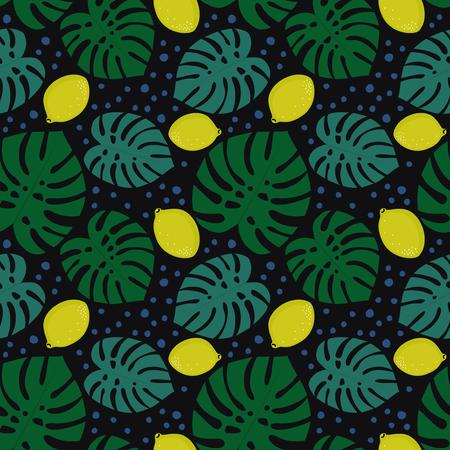 Patrones decorativos sin fisuras con limones y hojas de Palma sobre fondo oscuro. Monstera tropical deja el patrón con limones y puntos. Ilustración Trendy Jungle. Diseño para textil, papel pintado, tela. Ilustración de vector