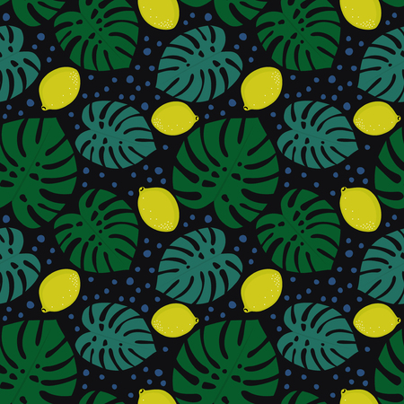 Seamless decorative pattern with lemons and palm leaves on dark background. Tropical monstera leaves pattern with lemons and dots. Trendy Jungle illustration. Design for textile, wallpaper, fabric. Illusztráció