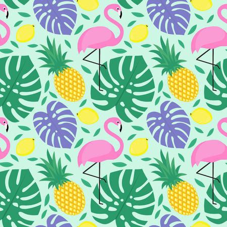 beach wrap: Seamless decorative background with flamingo, pineapple, lemons and green palm leaves. Tropical monstera leaves pattern with tropical fruits and exotic bird. Design for textile, wallpaper, fabric etc.