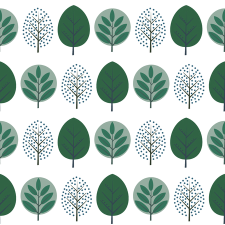Green decorative trees  seamless pattern. Cute nature background with green leaves. Scandinavian style forest vector illustration.  Design for textile, wallpaper, fabric.