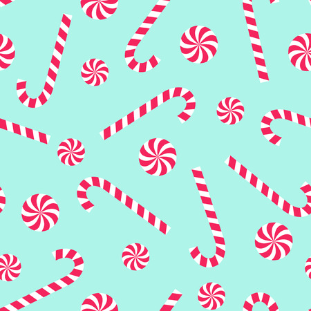 Candy cane and lollipop seamless christmas pattern on mint green background. Happy New Year and Merry Xmas background.