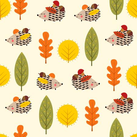 Erizo y hojas decorativas de patrones sin fisuras. Fondo de naturaleza de bosque otoñal. Erizo del bebé con la ilustración del vector de los árboles. Diseño para textil, papel pintado, tela.