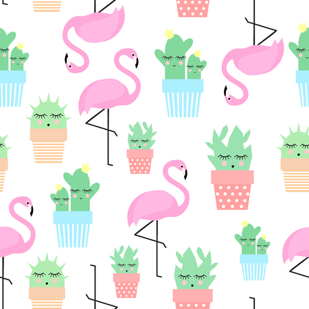Flamingo with cacti in cute pots seamless pattern. Simple cartoon plant vector illustration. Child drawing style cute cactus with tropical bird background. Çizim