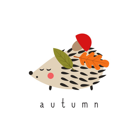 Hedgehog with mushroom and leaves on white background. Cute cartoon animal. Child drawing style illustration. Autumn card.