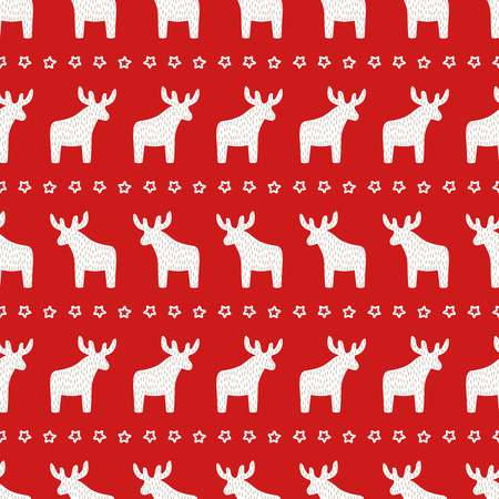 Christmas pattern - Xmas reindeer and star on red background. Happy New Year seamless background. Winter holidays vector design for textile, wallpaper, web, wrapping paper, fabric, decor etc. Illustration
