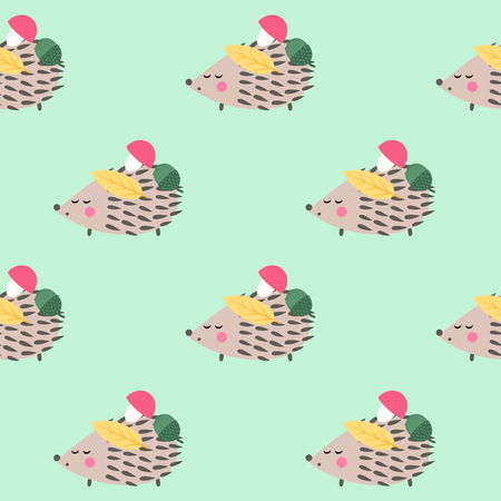 Hedgehog with mushroom,acorn and leaf seamless pattern on mint green background. Cute cartoon animal background.Child drawing style hedgehog illustration. Autumn design for textile, wallpaper, fabric.