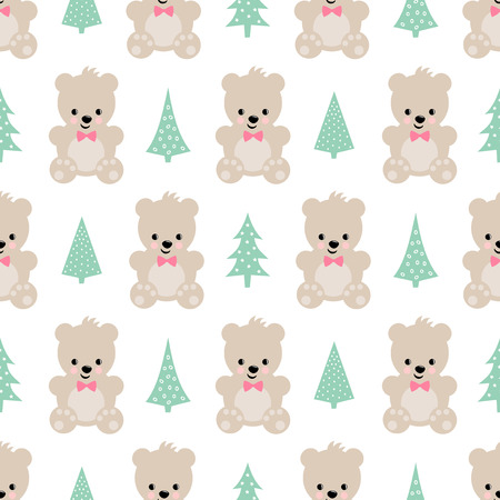 Teddy Bear With Xmas Trees Seamless Pattern On White Background