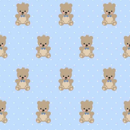 Teddy Bear Seamless Pattern On Baby Blue Polka Dots Background