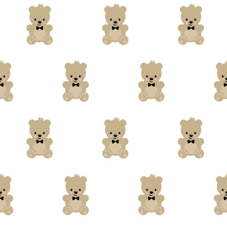 Teddy Bear Seamless Pattern On White Background Cute Vector