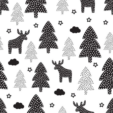 christmas wallpaper: Christmas pattern - Xmas trees, deers, stars. Happy New Year nature seamless background. Black and white forest design. Vector winter holidays print for textile, wallpaper, fabric, wallpaper.