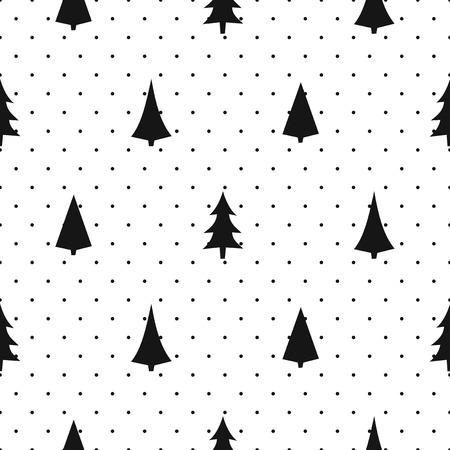 modèle simple de Noël sans soudure en noir et blanc - varier les arbres de Noël. Happy New Year pois arrière-plan. Vector design pour textile, papier peint, tissu, papier d'emballage.