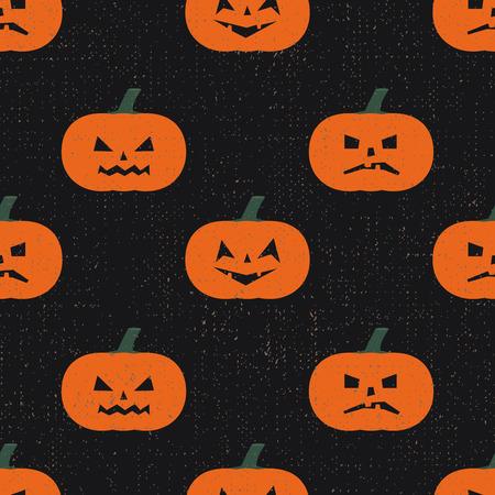 Halloween pumpkins pattern. Seamless halloween background. Happy Halloween concept illustration on grunge black background.