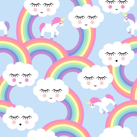 Seamless pattern with smiling sleeping clouds and rainbows for kids holidays. Cute baby shower vector background. Child drawing style.