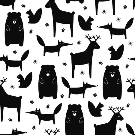Black and white forest animals seamless pattern. Deer, fox, bear, squirrel and snowflakes cartoon baby background. Cute design for fabric, textile, decor. Vector illustration for winter holidays.