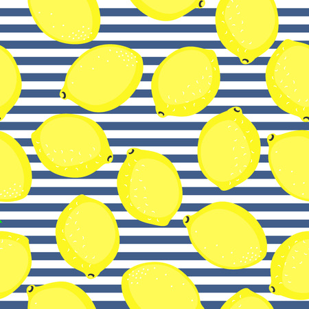 Lemon pattern. Seamless decorative background with yellow lemons. Summer fruit vector illustration on blue stripped background. Fashion design for textile, wallpaper, fabric.