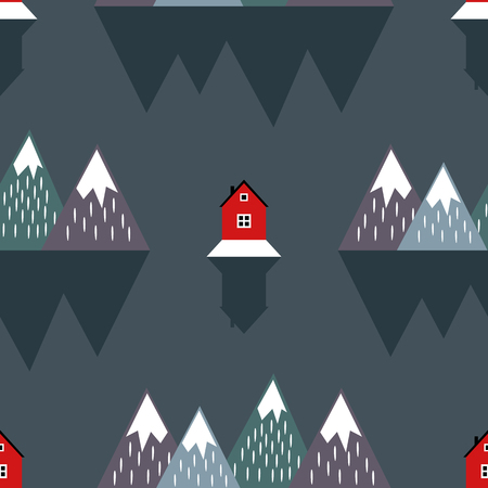 Cute nordic landscape with houses, mountains, sea and reflection. Seamless pattern with geometric snowy mountains and homes. Colorful scandinavian nature illustration. Vector mountains background. Illustration