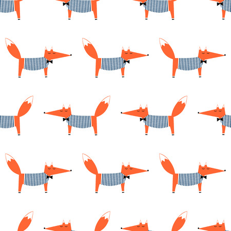 French style fox seamless pattern. Cute cartoon foxy vector illustration. Child drawing style animal background. Fashion design for fabric, textile. Illustration