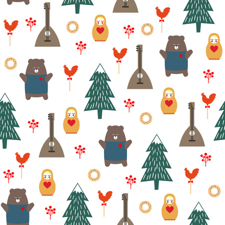 matriosca: Russian symbols seamless pattern. Cute cartoon illustration with bear, fir tree, balalaika, nested doll. Russian design for wrapping paper, textile, fabric etc. Child drawing style vector background.