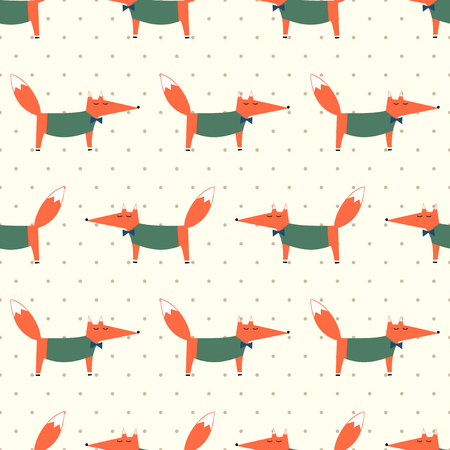 anthropomorphism: Cute fox seamless pattern on polka dots background. Cartoon foxy vector illustration. Child drawing style animal background. Fashion design for fabric, textile.
