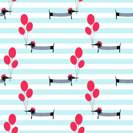 French style dog holding balloons seamless pattern on striped background. Cute cartoon parisian dachshund vector illustration. French style dressed dog with beret and striped frock. Иллюстрация