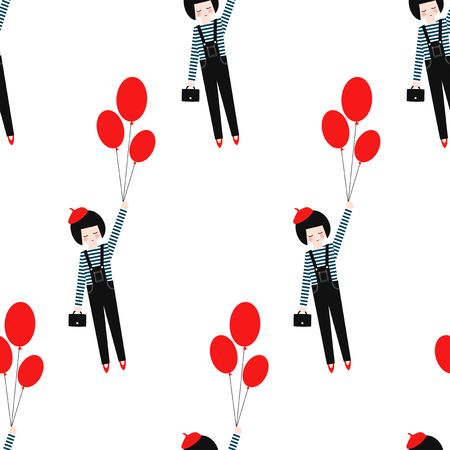 Cute girl with red balloons seamless pattern on white background. Vector illustration of flying fashion girl holding balloons. Fashion design for textile, wallpaper, fabric etc. Illustration