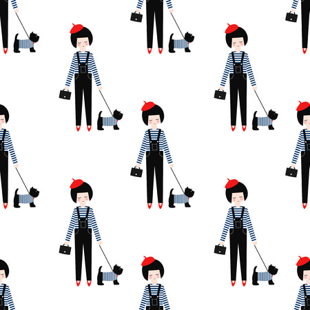 breton: Cute girl with scottish terrier seamless pattern on white background. Vector illustration of girl with dog. Fashion design for textile, wallpaper, fabric etc.