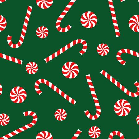Modèle de Noël sans soudure canne et sucette sur fond vert. Fond de bonne année et joyeux Noël Vecteur vacances d'hiver imprimer pour le textile, papier peint, tissu, papier peint. Vecteurs