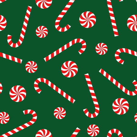 Candy cane and lollipop seamless christmas pattern on green background. Happy New Year and Merry Xmas background. Vector winter holidays print for textile, wallpaper, fabric, wallpaper.