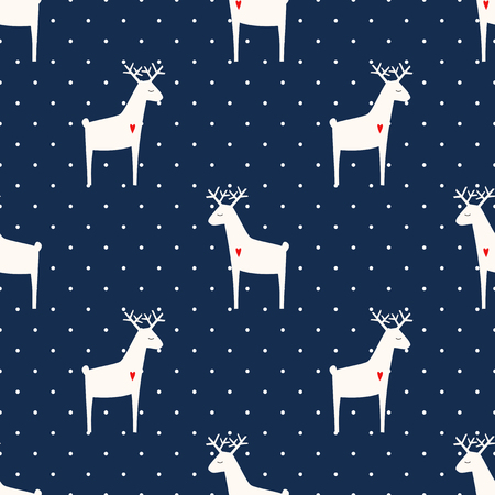 Deer with heart seamless pattern on polka dots blue background. Xmas animal background. Child drawing style animal illustration. Cute holidays design for textile, wallpaper, fabric.