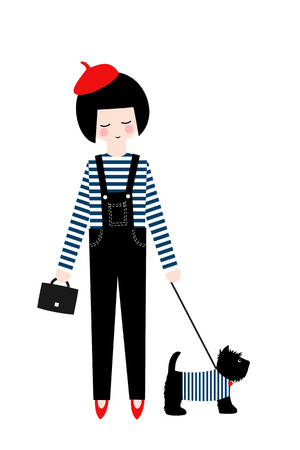 scottish terrier: Cute fashion girl with scottish terrier on white background. Vector illustration of girl with dog. Fashion design for poster, card etc.