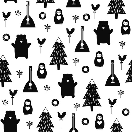 Russian symbols seamless pattern. Black and white cartoon illustration with bear, fir tree, balalaika, nested doll. Russian design for wrapping paper, textile, fabric. Russian style vector background. Ilustração
