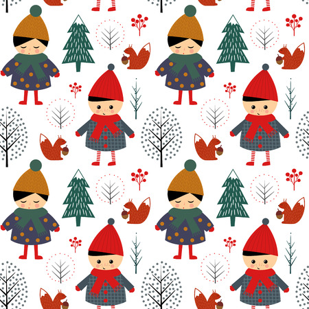 scandinavian girl: Cute boy and girl walking in winter forest seamless pattern on white background. Christmas scandinavian style nature illustration. Winter forest with children design for textile, wallpaper, fabric.