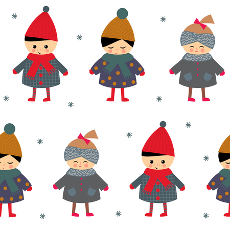 cute baby girls: Cute children seamless pattern on white background. Little boy and girls in cute winter clothes walking outside vector illustration. Baby design for textile, wallpaper, fabric. Winter holidays card.