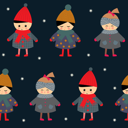 cute baby girls: Cute children seamless pattern on dark background. Little boy and girls in cute winter clothes walking outside vector illustration. Winter baby design for textile, wallpaper, fabric.