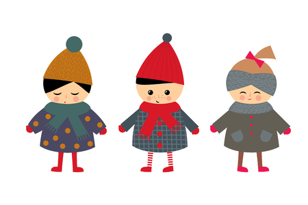 cute baby girls: Cute children on white background. Little boy and girls in cute winter clothes vector illustration. Baby design for textile, decor, fabric. Winter holidays card.