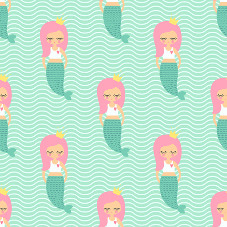 Cute pink hair mermaid girl seamless pattern on mint green waves background. Illusztráció