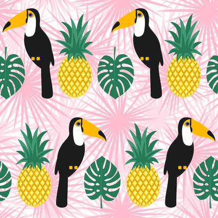 Toucans and pineapples seamless pattern on pink tropical leaves. Illustration