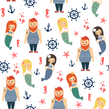 Mermaids girls with sailor, anchor, starfish seamless pattern on white background. Illusztráció