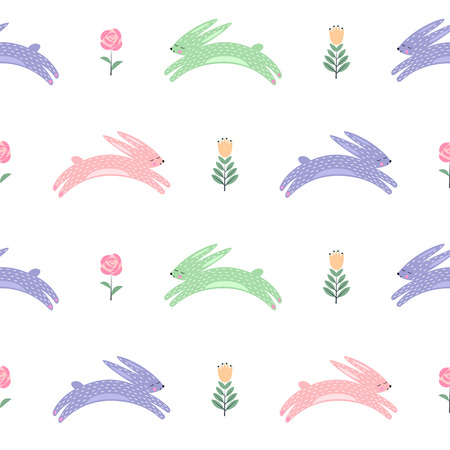 pattern: Easter bunny with spring flowers seamless pattern.