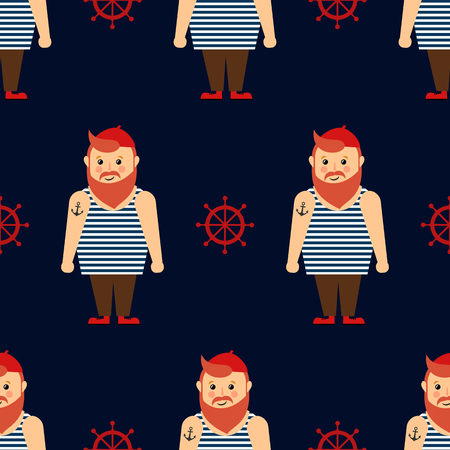 Cute nautical pattern with bearded sailor and steering wheel on dark blue background. Illustration
