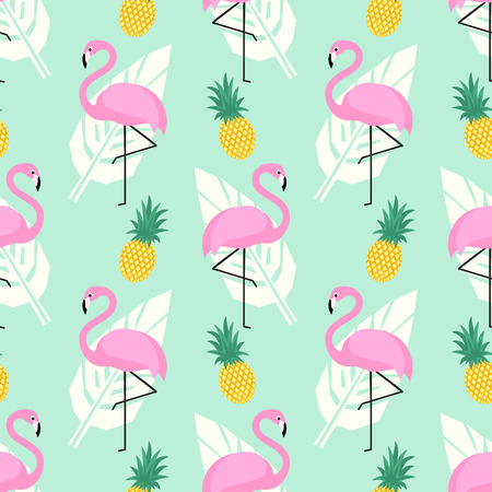 Tropical trendy seamless pattern with pink flamingos, pineapples and palm leaves on mint green background.