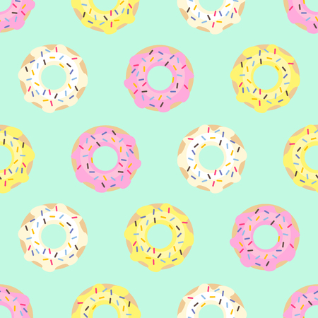 Donuts seamless pattern on mint green background. Imagens