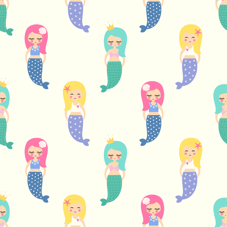 mythological character: Cute mermaids girls with colorful hairs seamless pattern on white background.